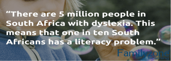 Image showing how 5 milion people in South Africa is affected by dyslexia