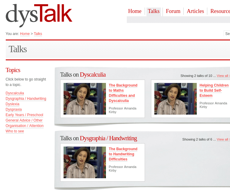 Screenshot showing Dystalk website