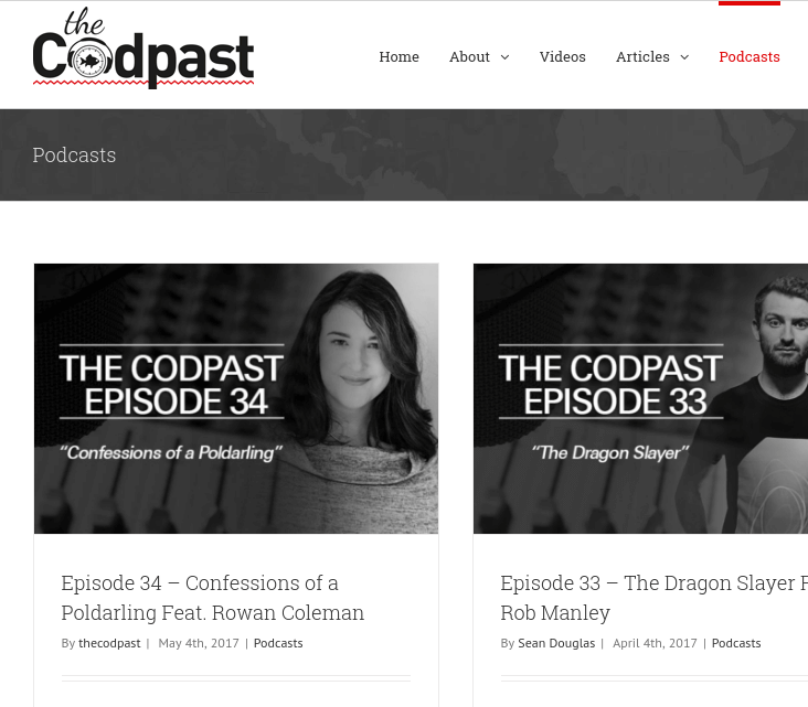 Screenshot showing codpast website.